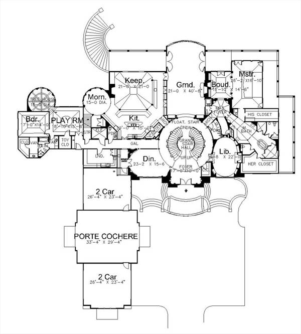 1st Floor Plan image of Featured House Plan: BHG - 7933