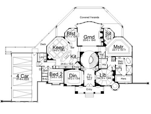 1st Floor Plan image of Featured House Plan: BHG - 7934