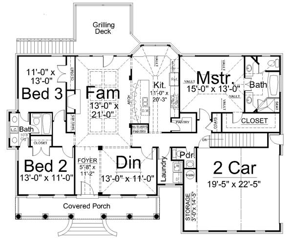 1st Floor Plan image of Featured House Plan: BHG - 7696