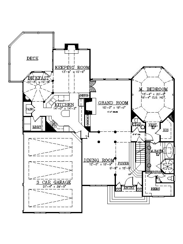 1st Floor Plan image of Featured House Plan: BHG - 7973