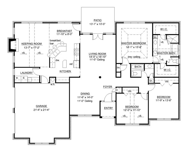 1st Floor Plan image of Featured House Plan: BHG - 7149