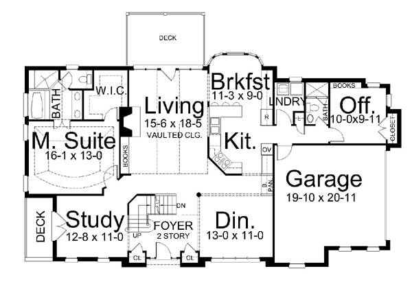 1st Floor Plan image of Featured House Plan: BHG - 6160