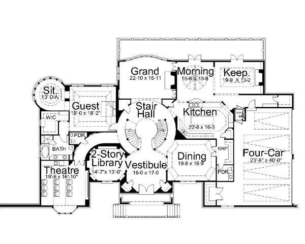 1st Floor Plan image of Featured House Plan: BHG - 6140