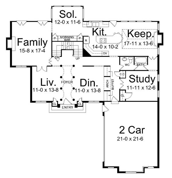 1st Floor Plan image of Featured House Plan: BHG - 6164