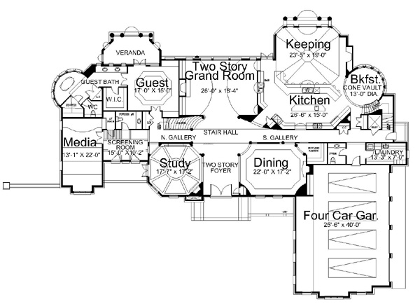 1st Floor Plan image of Featured House Plan: BHG - 6147