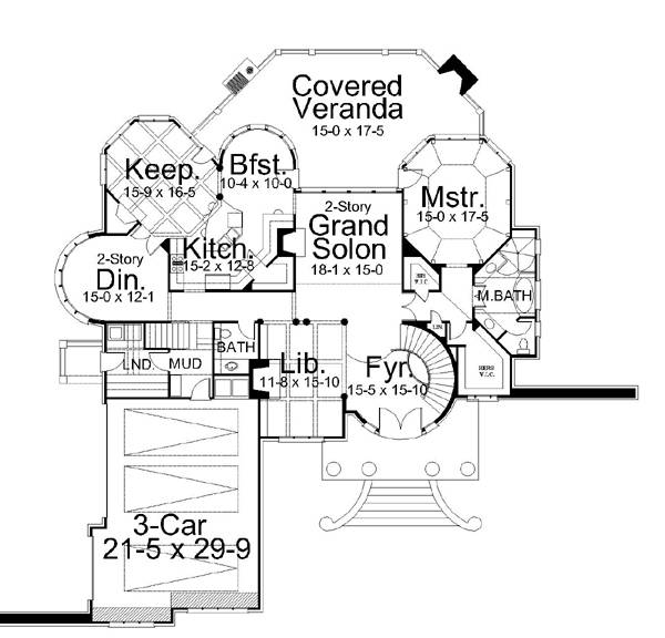 1st Floor Plan image of Featured House Plan: BHG - 6151