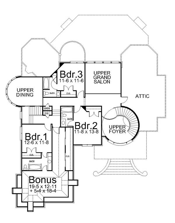 2nd Floor Plan image of Featured House Plan: BHG - 6151