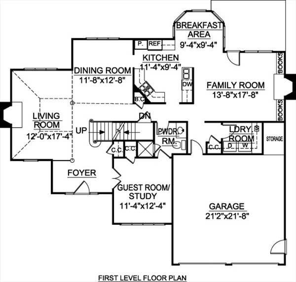 1st Floor Plan image of Featured House Plan: BHG - 8016