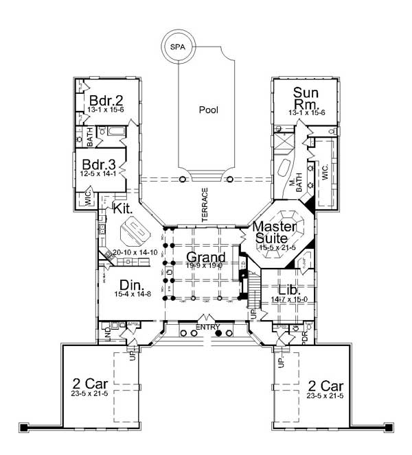 1st Floor Plan image of Featured House Plan: BHG - 7982