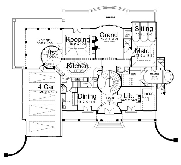 1st Floor Plan image of Featured House Plan: BHG - 6016