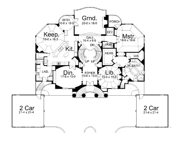 1st Floor Plan image of Featured House Plan: BHG - 6018