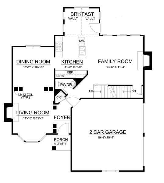 1st Floor Plan image of Featured House Plan: BHG - 7724