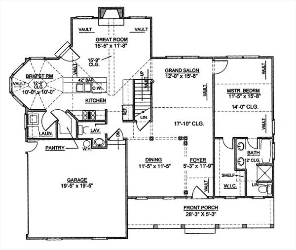 1st Floor Plan image of Featured House Plan: BHG - 8023
