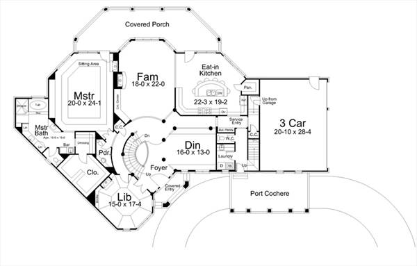 1st Floor Plan image of Featured House Plan: BHG - 6155