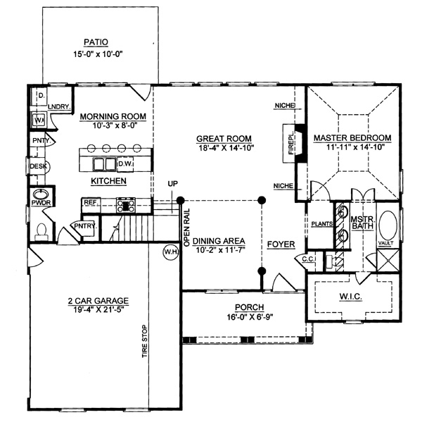 1st Floor Plan image of Featured House Plan: BHG - 7993
