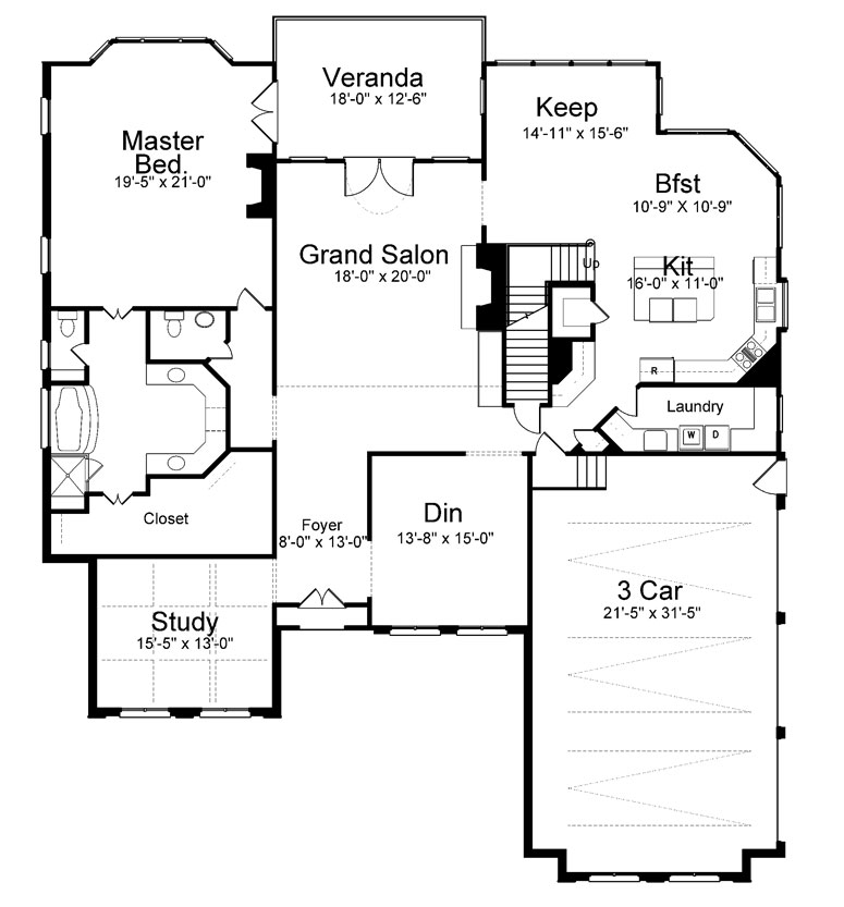 1st Floor Plan image of Featured House Plan: BHG - 8091