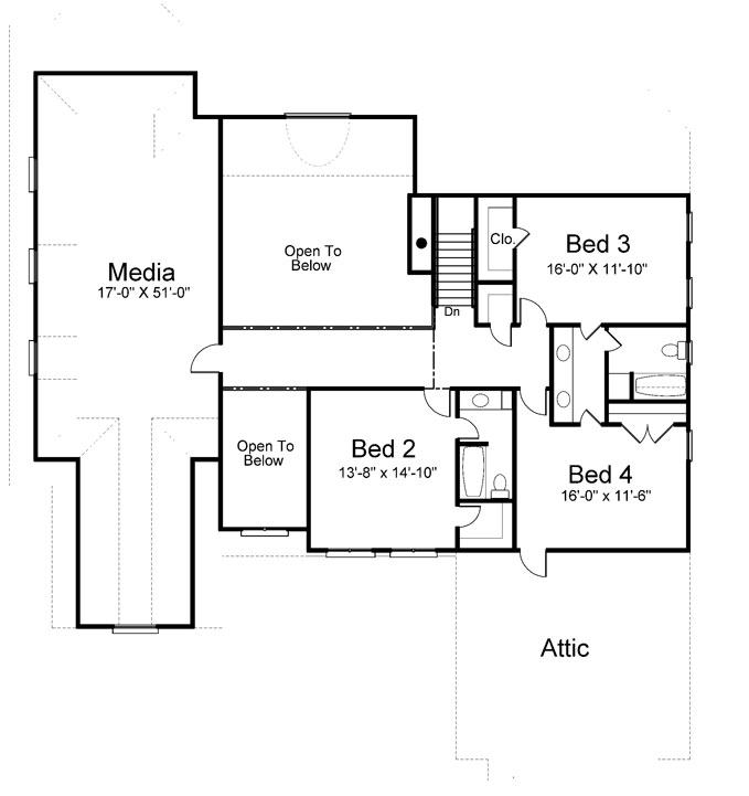 2nd Floor Plan image of Featured House Plan: BHG - 8091