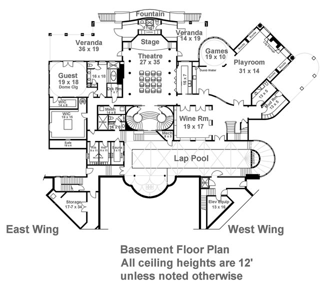 Basement Floor Plan image of Featured House Plan: BHG - 6048
