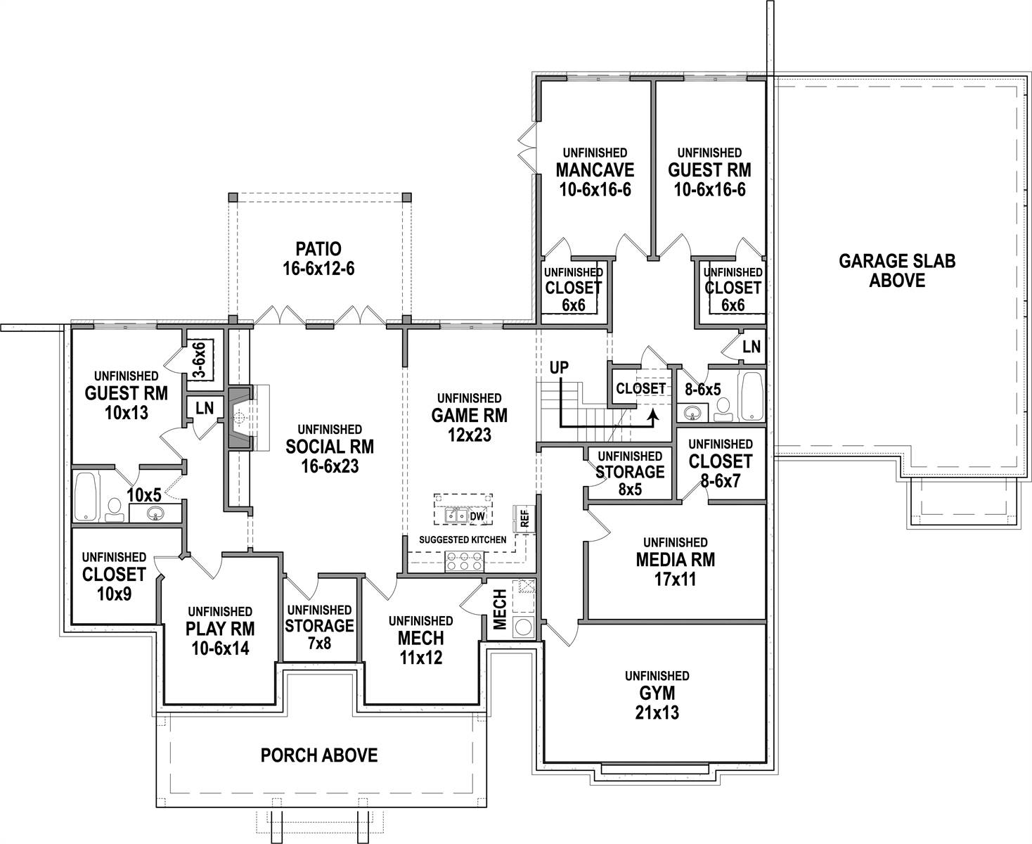 Basement Floor Plan image of Featured House Plan: BHG - 7382
