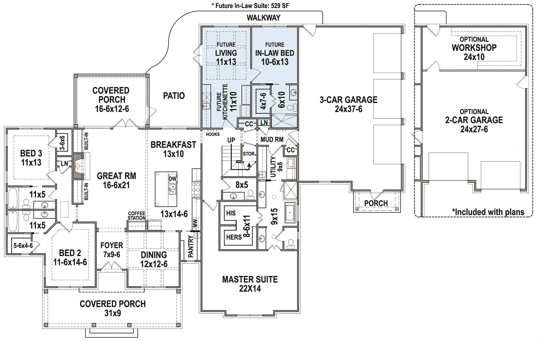 1st Floor Plan image of Featured House Plan: BHG - 7382