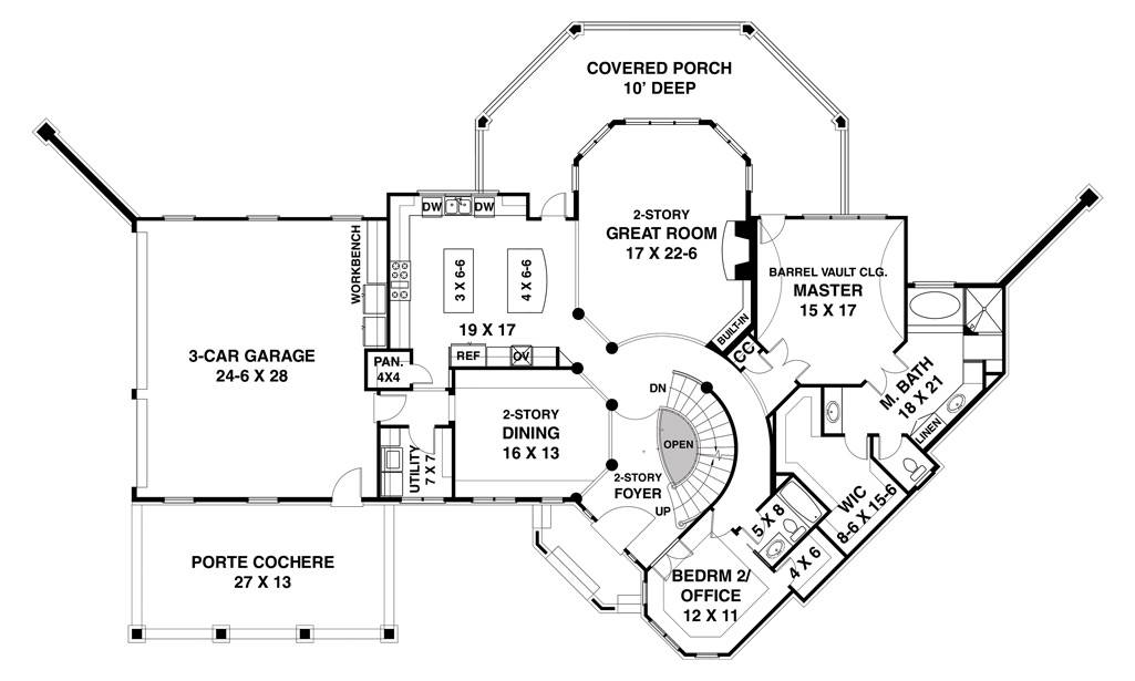 1st Floor image of Featured House Plan: BHG - 7384