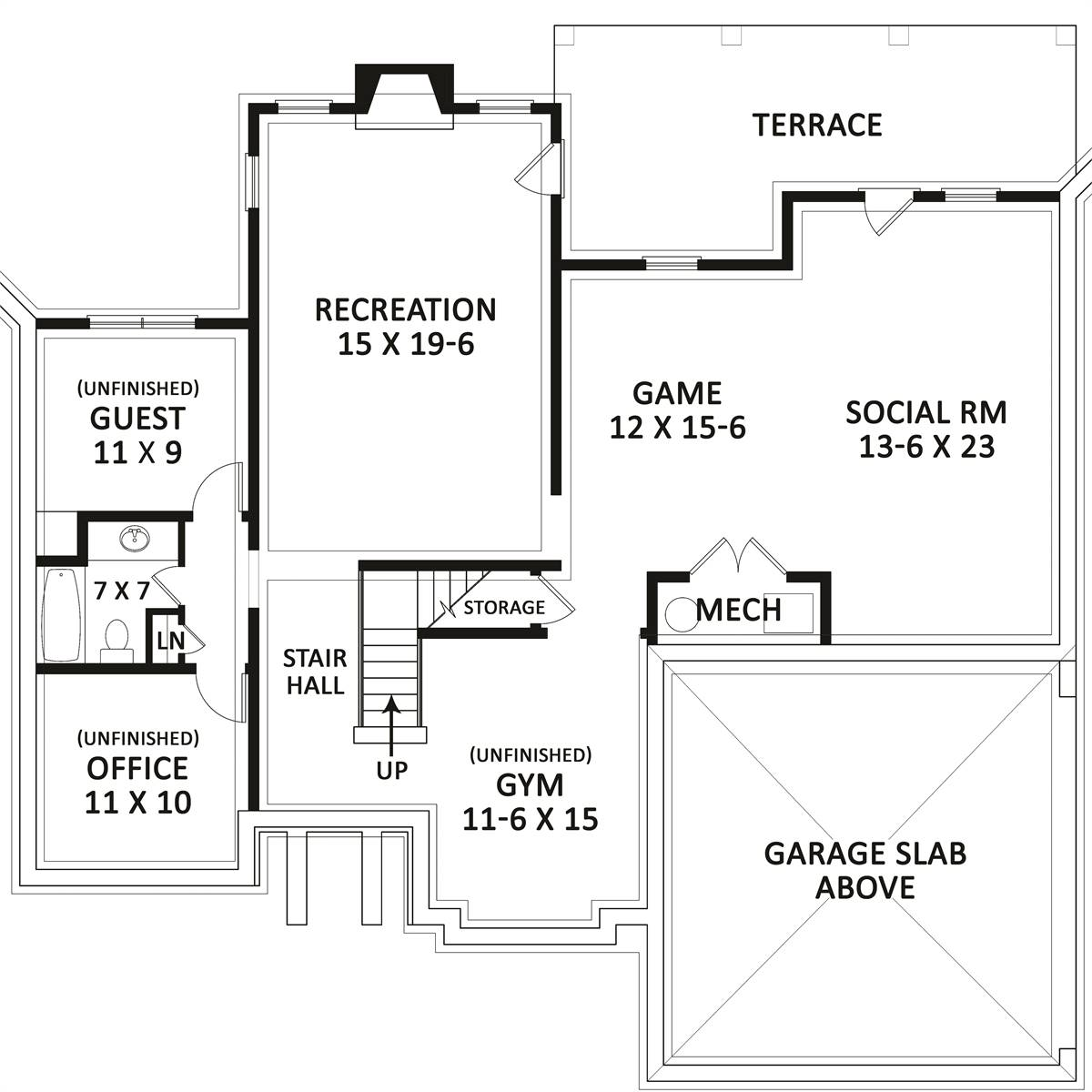 Basement Plan image of Featured House Plan: BHG - 8783