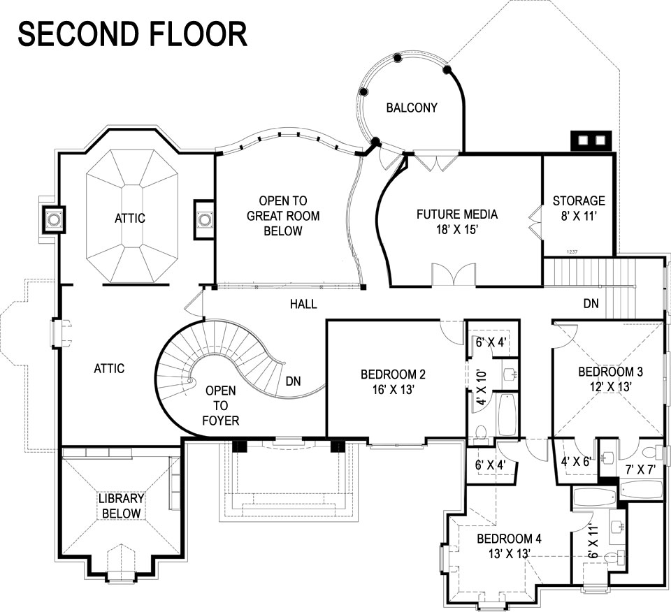 Second Floor Plan image of Featured House Plan: BHG - 5212