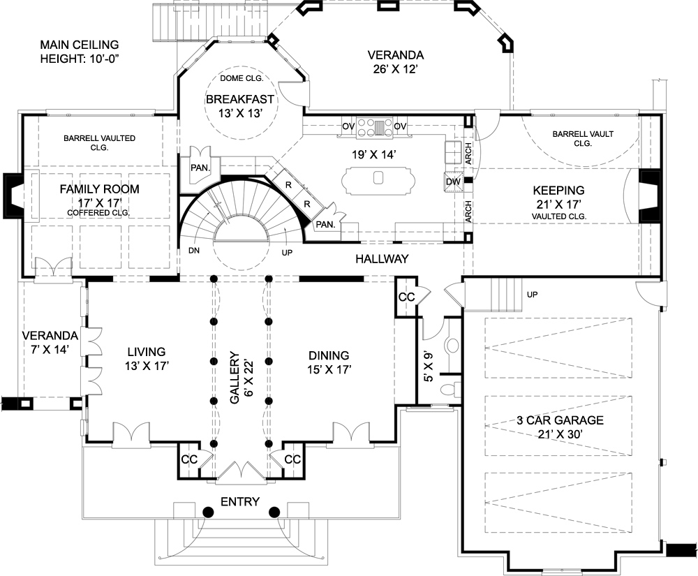 First Floor Plan image of Featured House Plan: BHG - 7939