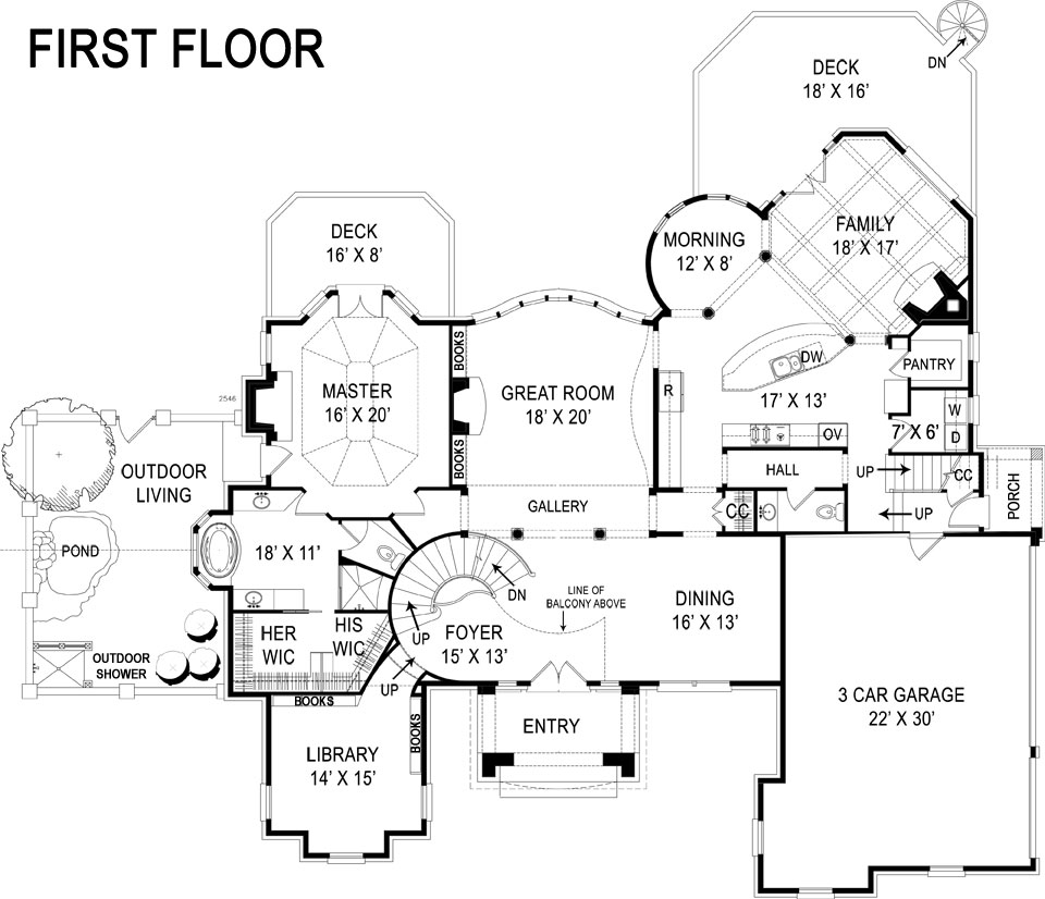 First Floor Plan image of Featured House Plan: BHG - 5212