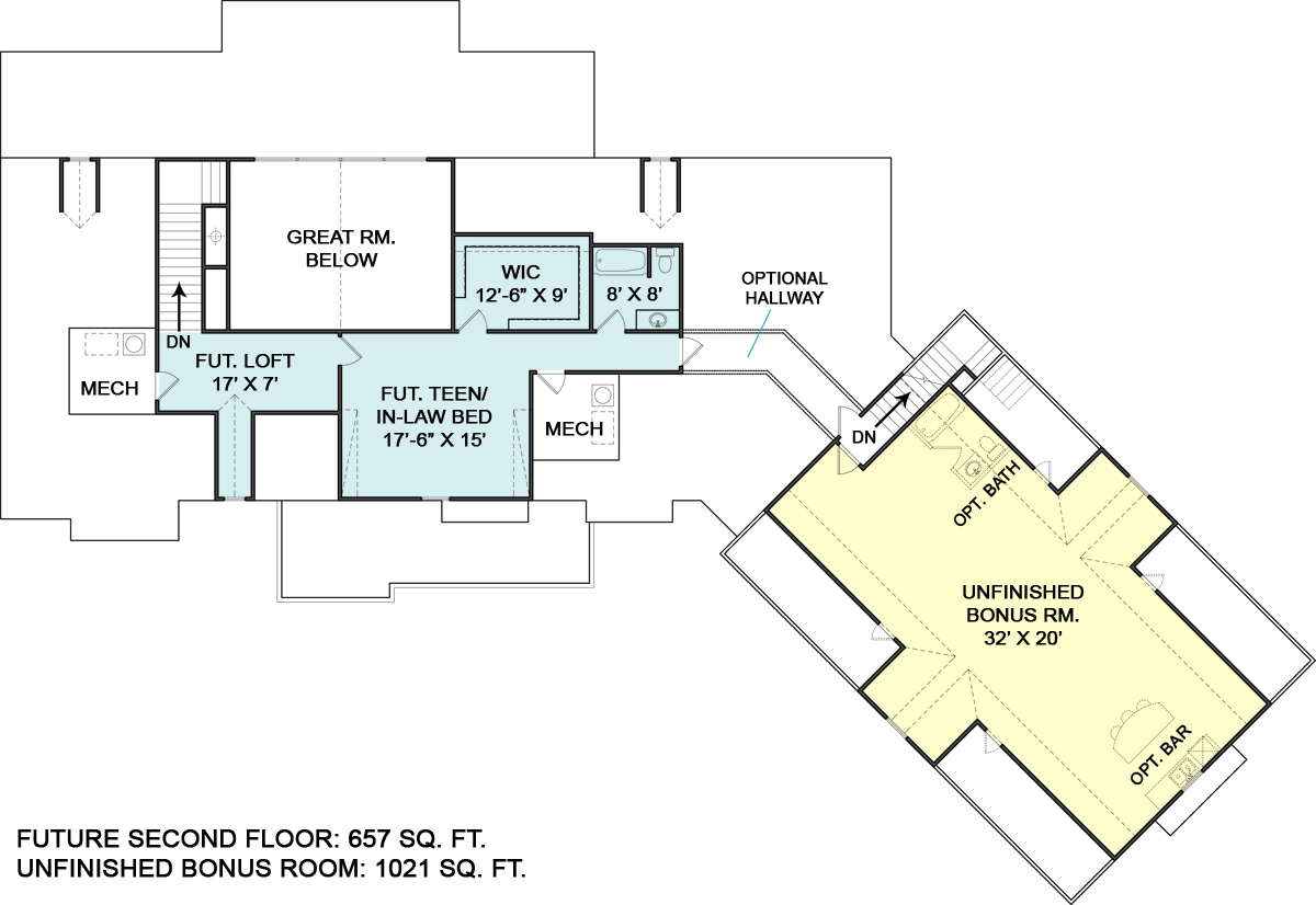 Second Floor Plan image of Featured House Plan: BHG - 5527
