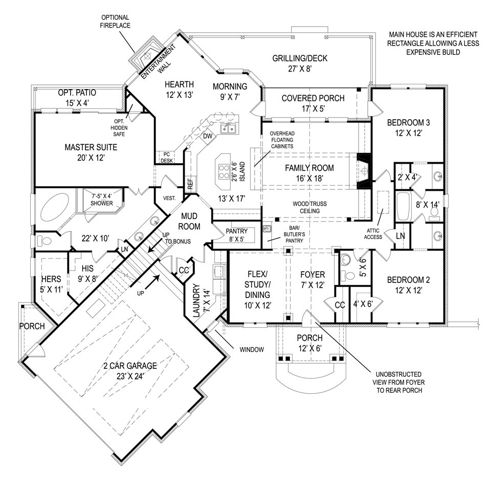 First Floor Plan image of Featured House Plan: BHG - 5462