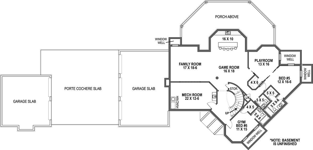 Basement Floor Plan image of Featured House Plan: BHG - 9650