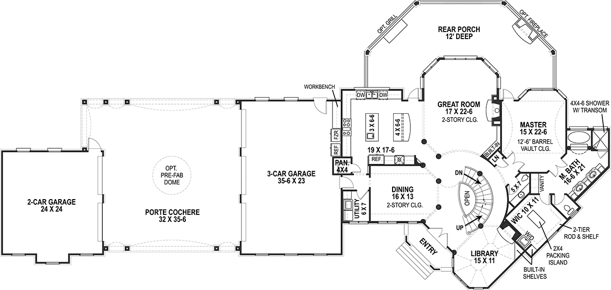 1st Floor Plan image of Featured House Plan: BHG - 9650