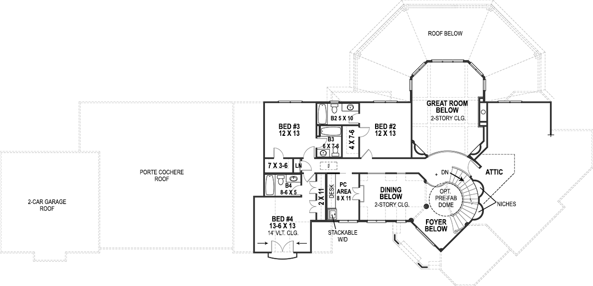 2nd Floor Plan image of Featured House Plan: BHG - 9650