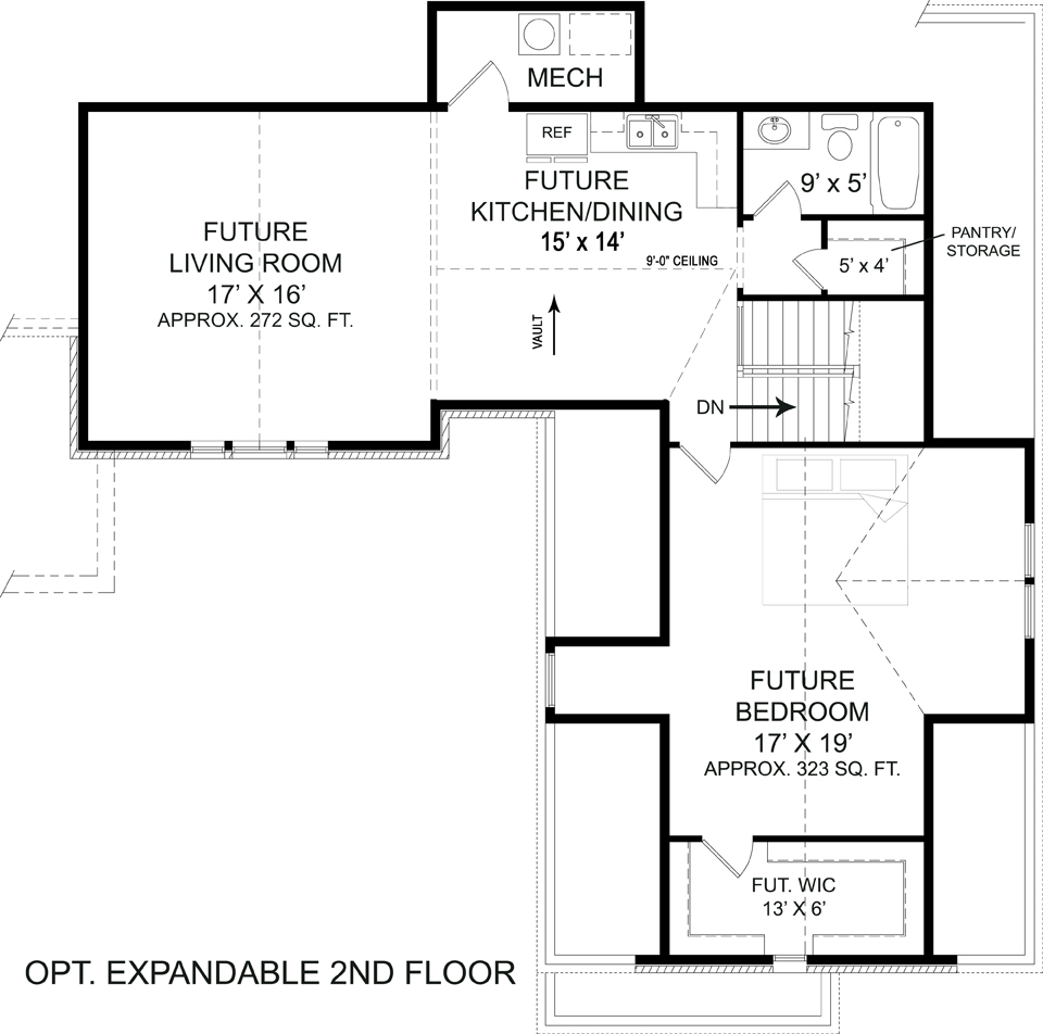 Optional Second Floor Plan image of Featured House Plan: BHG - 5215