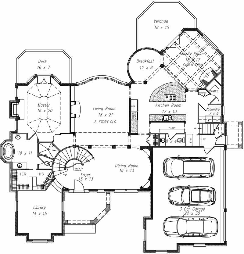 1st Floor Plan image of Featured House Plan: BHG - 4277