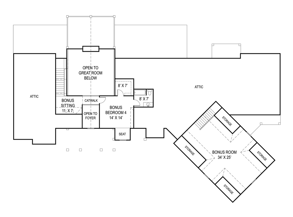 Second Floor Plan image of Featured House Plan: BHG - 9020