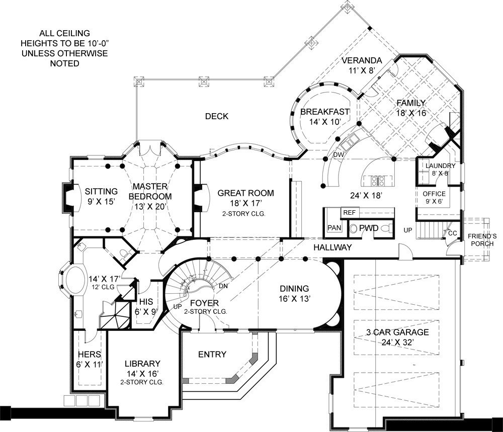 First Floor Plan image of stately two-story house plan