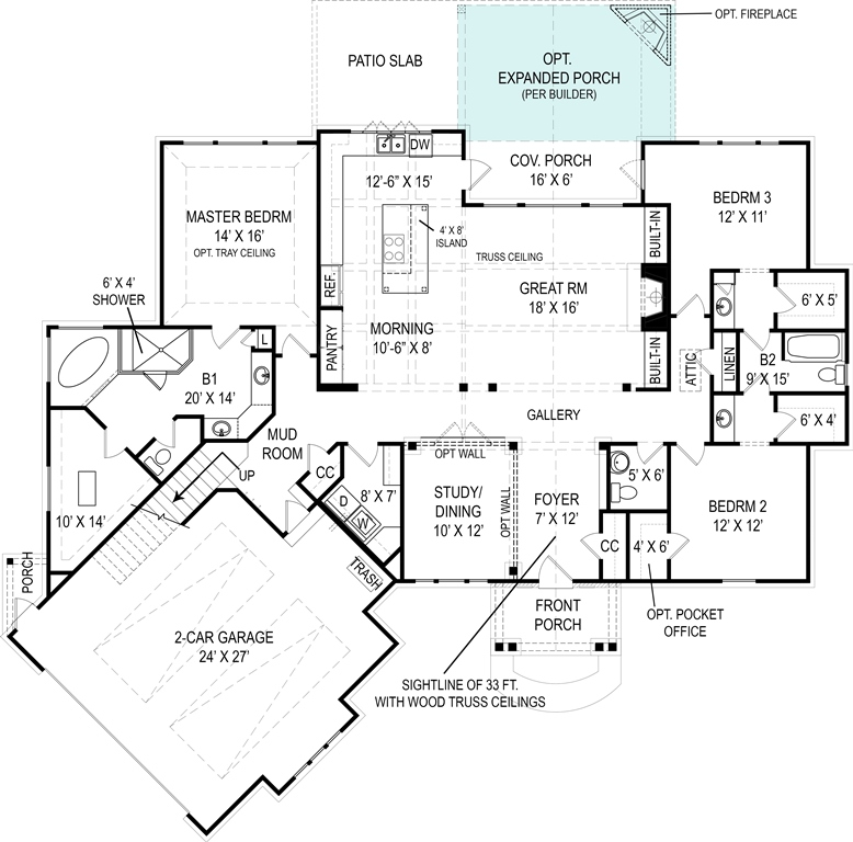 First Floor Plan image of Featured House Plan: BHG - 4510