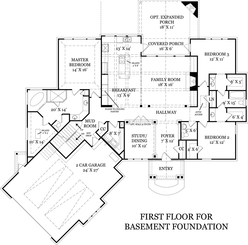 First Floor Plan for Basement image of Featured House Plan: BHG - 4510