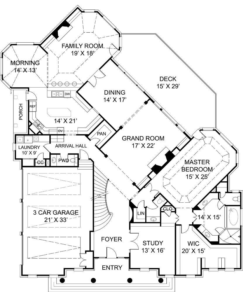 First Floor Plan image of Featured House Plan: BHG - 6008