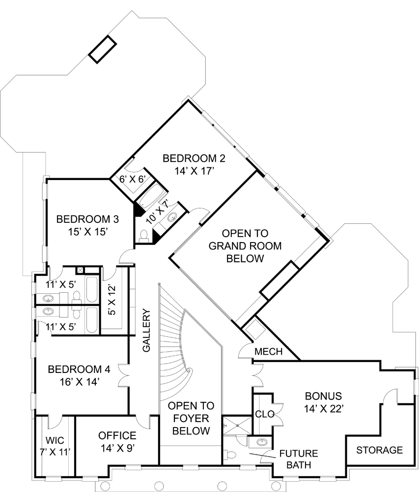 Second Floor Plan image of Featured House Plan: BHG - 6008