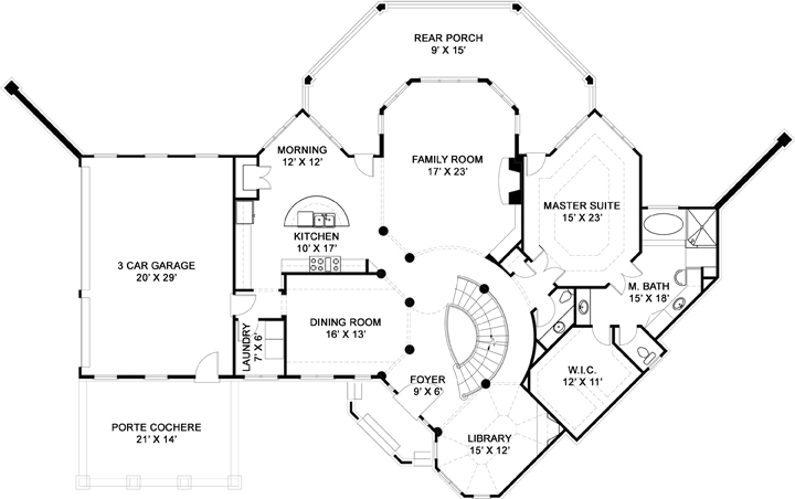First Floor Plan image of Featured House Plan: BHG - 5985