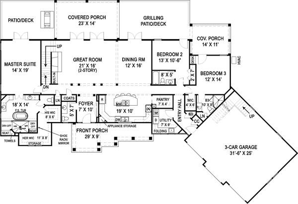 First Floor Plan image of Featured House Plan: BHG - 9459