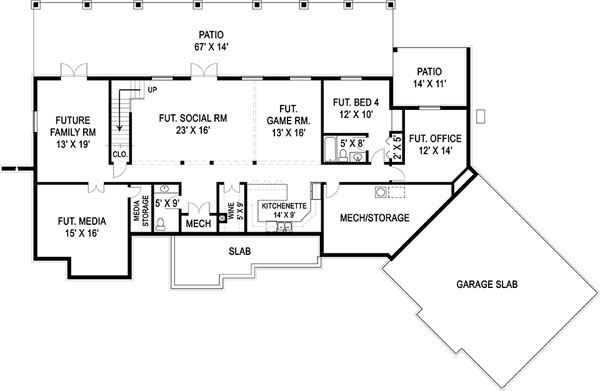 Basement Floor Plan image of Featured House Plan: BHG - 9459
