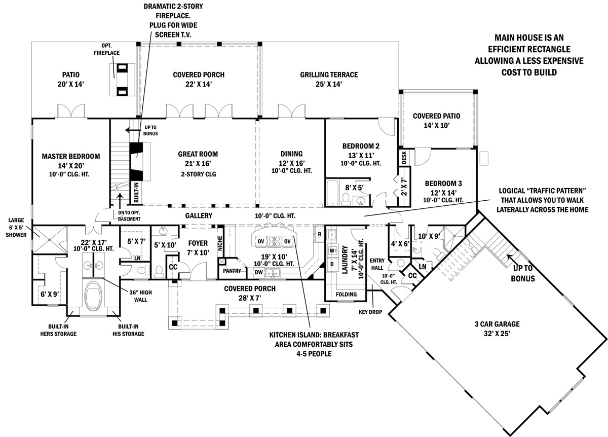 First Floor Plan image of Featured House Plan: BHG - 4445