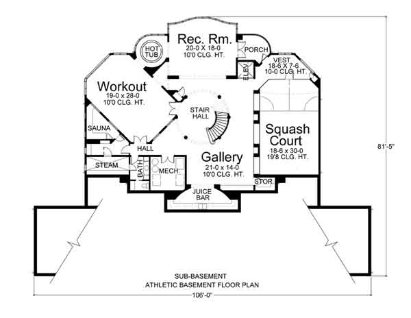 Basement Floor Plan image of Featured House Plan: BHG - 6018