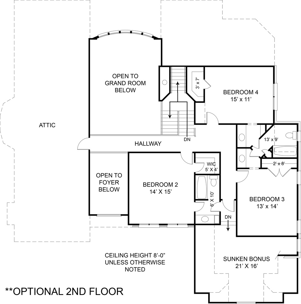Opt. Second Floor Plan (included in set) image of Featured House Plan: BHG - 5989