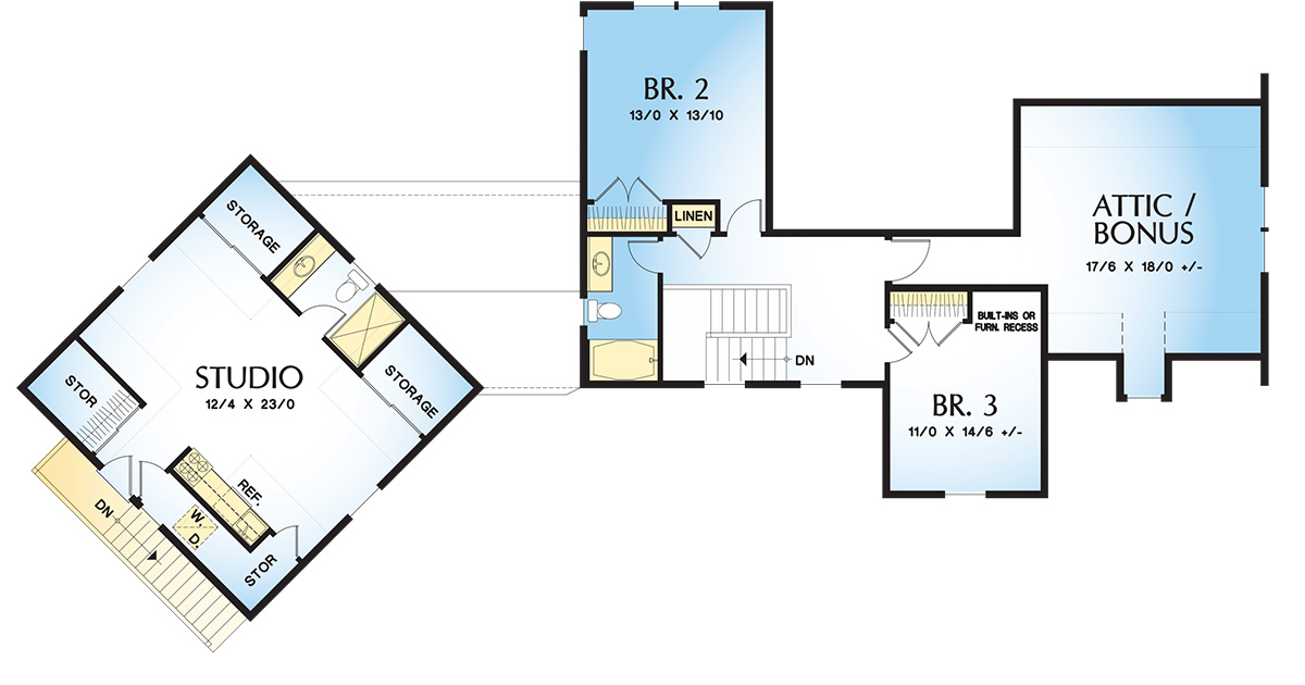 2nd Floor Plan image of Featured House Plan: BHG - 4728