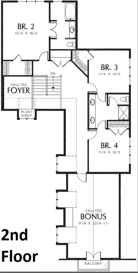 2nd Floor Plan image of Featured House Plan: BHG - 8550